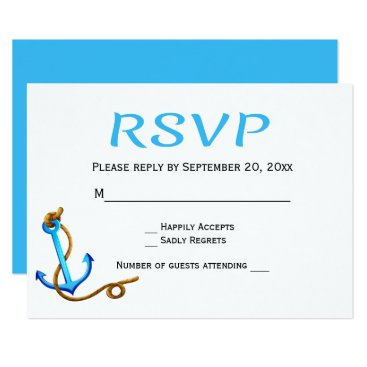 Beach Themed Nautical RSVP Blue Turquoise Anchor Wedding Party Card