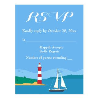 Nautical RSVP Lighthouse Sailboat Blue Ocean Beach Postcard