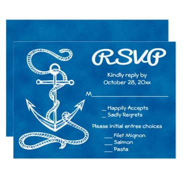 Beach Themed Nautical RSVP Ship Anchor Watercolor Blue Wedding Card
