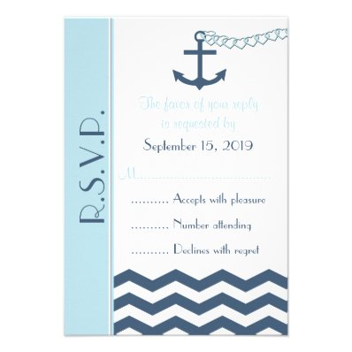 Nautical RSVP Wedding Invitation Card