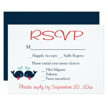 Beach Themed Nautical RSVP Whales Navy Red Wedding Beach Party Card