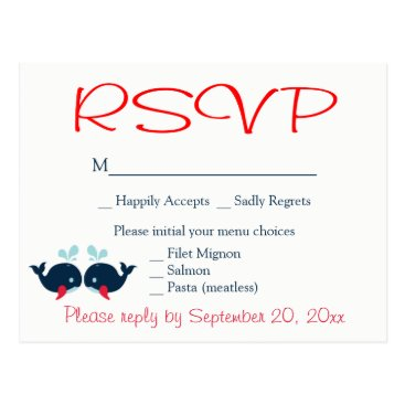 Beach Themed Nautical RSVP Whales Navy  Red Wedding Beach Party Postcard