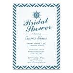 Nautical Rudder Blue Chevron Stripes Bridal Shower Custom Invites