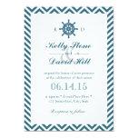 Nautical Rudder Blue Chevron Stripes Wedding Personalized Invites