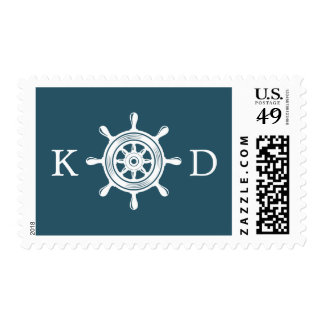 Nautical Rudder Helm Navy Blue Wedding Postage
