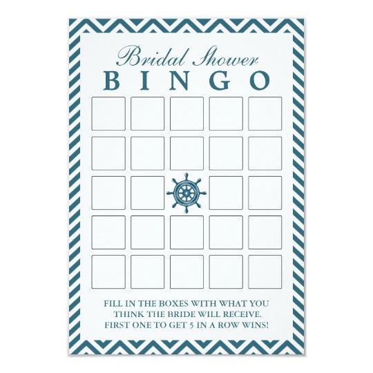 Nautical Rudder Zigzag Bridal Shower Bingo Cards | Zazzle.com