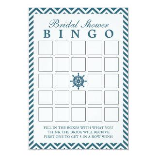 Nautical Rudder Zigzag Bridal Shower Bingo Cards