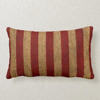 Nautical Rustic Red Stripe Lumbar Pillow