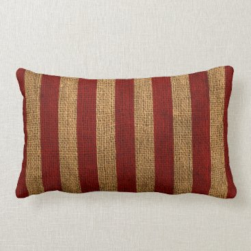 Beach Themed Nautical Rustic Red Stripe Lumbar Pillow