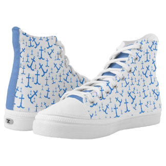 Nautical Rusty Blue Anchor Art Pattern High-Top Sneakers