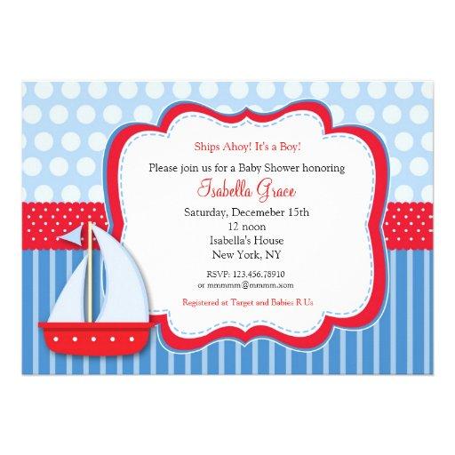 nautical saiboat baby shower invitations zazzle
