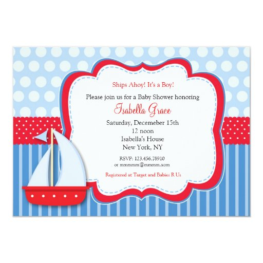 Nautical Saiboat Baby Shower Invitations
