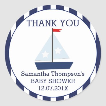 Beach Themed Nautical Sail Boat Baby Shower Favor Sticker