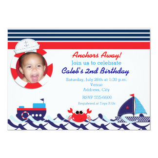 Nautical Sail Boat Navy Stripe Photo Invitation