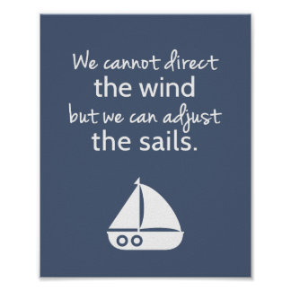 Nautical Sail boat Positive Quote Wall Decor Poster