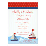 Nautical Sail By to Celebrate Boy Baby Shower Invites