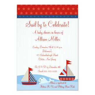 Nautical Sail By to Celebrate Boy Baby Shower 5x7 Paper Invitation Card