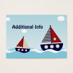 Nautical Sailboat Additional Info Insert Card at Zazzle