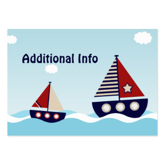 Nautical Sailboat Additional Info Insert Card Large Business Cards (Pack Of 100)