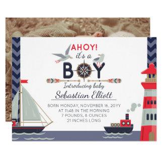 Nautical Sailboat Ahoy Baby Boy Birth Announcement