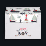 """Nautical Sailboat Ahoy Baby Boy Shower Invitation Envelope<br><div class=""""desc"""">Ahoy! It&#39;s a BOY! Sail right into your special day with this cute nautical baby design. Sweet seagulls, boats and lighthouse create the perfect marine party theme for mommy-to-be. • Coordinate it! Browse the Nautical Boy Baby Collection for matching products including invitations, address labels, wrapping paper, party decor and more!...</div>"""