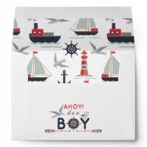 Nautical Sailboat Ahoy Baby Boy Shower Invitation Envelope