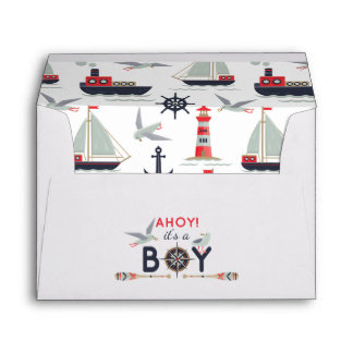 Nautical Sailboat Ahoy Baby Boy Shower Invitation Envelope