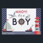 "Nautical Sailboat Ahoy Baby Boy Shower Party Decor Sign<br><div class=""desc"">Ahoy! It&#39;s a BOY! Sail right into your special day with this cute nautical baby design. Sweet seagulls,  boats and lighthouse create the perfect marine party theme for mommy-to-be.
