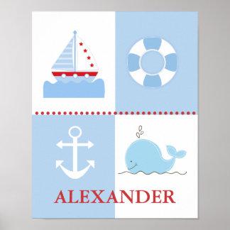 Nautical Sailboat Anchor Whale Art Print