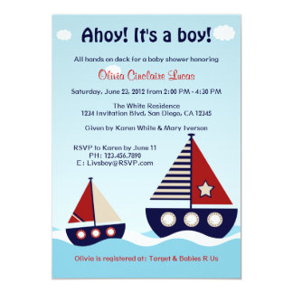 Nautical Sailboat Baby Boy Baby Shower Invitation