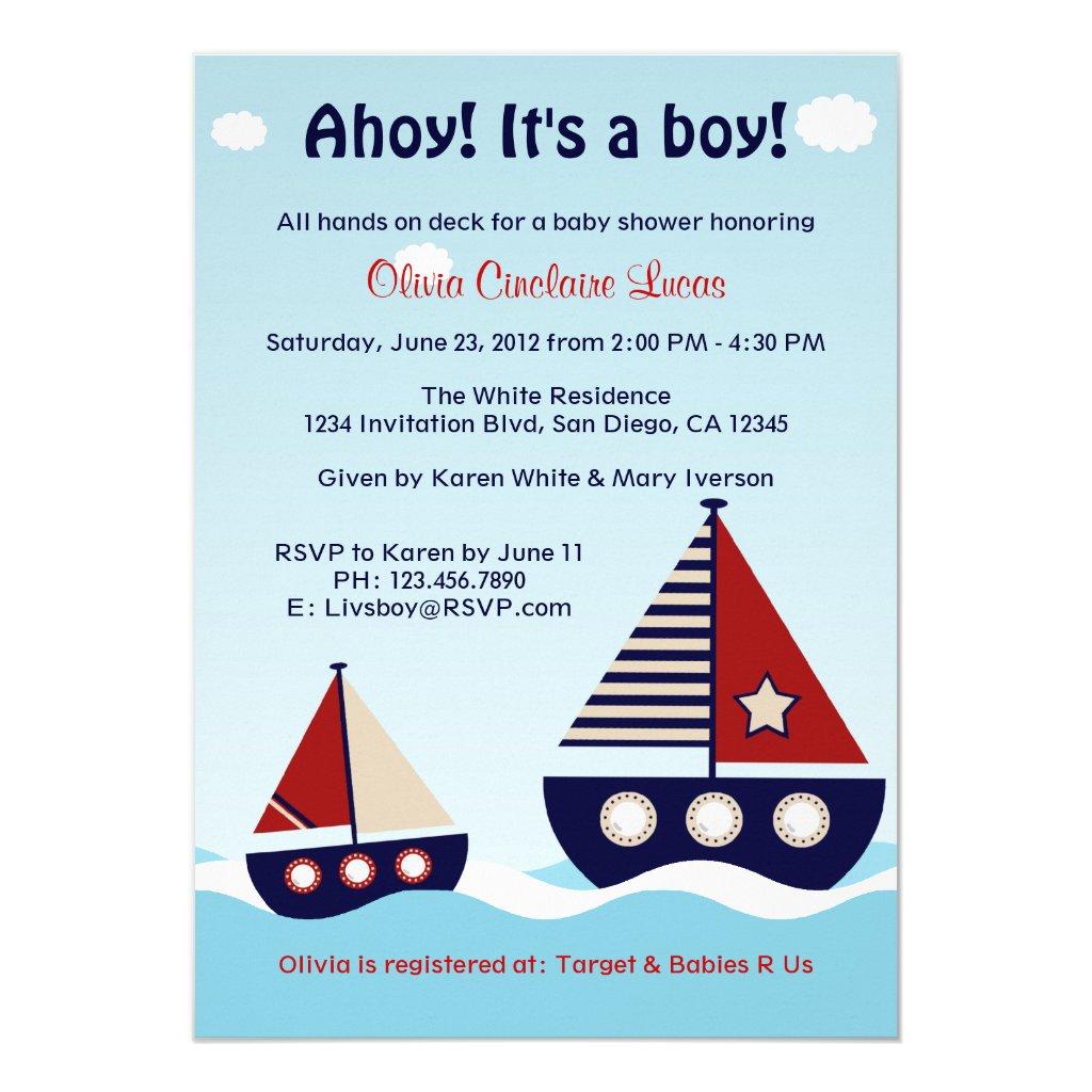 Nautical Sailboat Baby Boy Baby Shower Invitation