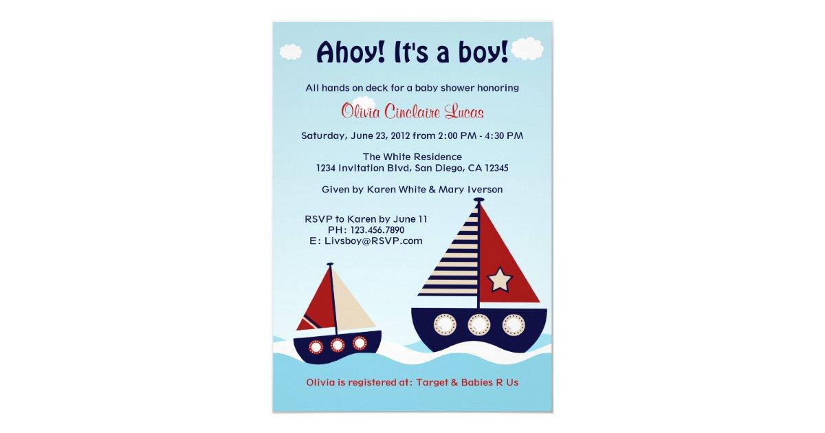 Nautical Sailboat Baby Boy Baby Shower Invitation   Zazzle.com