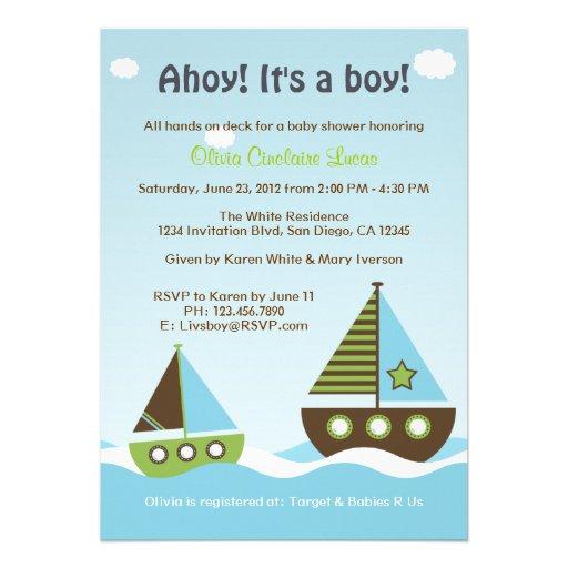 nautical sailboat baby boy baby shower invitation zazzle