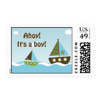 Nautical Sailboat Baby Boy Baby Shower Stamps