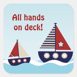 Nautical Sailboat Baby Boy Baby Shower Sticker