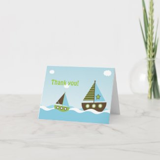 Nautical Sailboat Baby Boy Baby Shower Thank You Greeting Cards