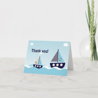 Nautical Sailboat Baby Boy Baby Shower Thank You Cards