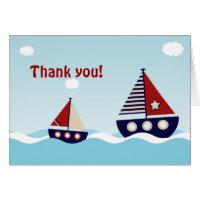 Nautical Sailboat Baby Boy Baby Shower Thank You Card