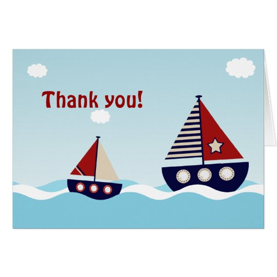 Nautical Sailboat Baby Boy Baby Shower Thank You Card
