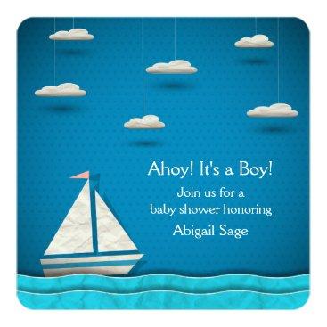 Beach Themed Nautical Sailboat Baby Shower Invitation ~ Boys