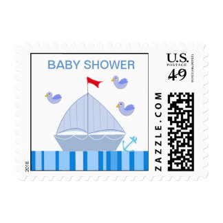 Nautical Sailboat Baby Shower Postage Stamp