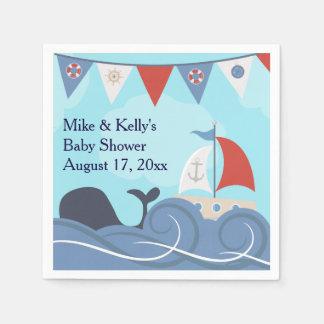 Nautical Sailboat Beach Ocean Whale Baby Shower Napkin