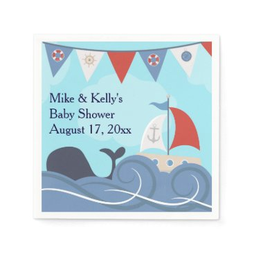 Beach Themed Nautical Sailboat Beach Ocean Whale Baby Shower Napkin