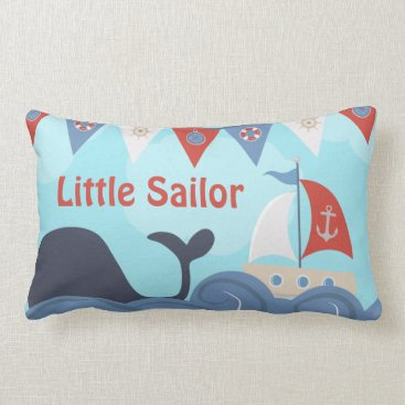 Beach Themed Nautical Sailboat Beach Ocean Whale Nursery Lumbar Pillow
