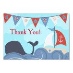 Nautical Sailboat Beach Ocean Whale Thank You 3.5x5 Paper Invitation Card