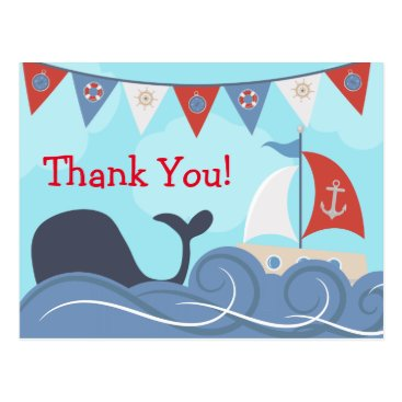 Beach Themed Nautical Sailboat Beach Ocean Whale Thank You Postcard