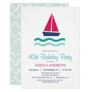 Nautical Sailboat Birthday Party Invitation