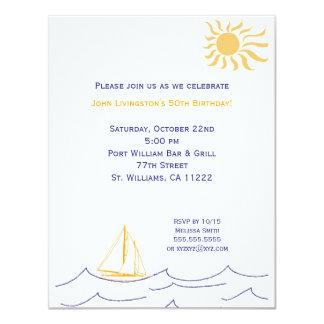 """Nautical Sailboat Birthday Party Invitation 4.25"""" X 5.5"""" Invitation Card"""