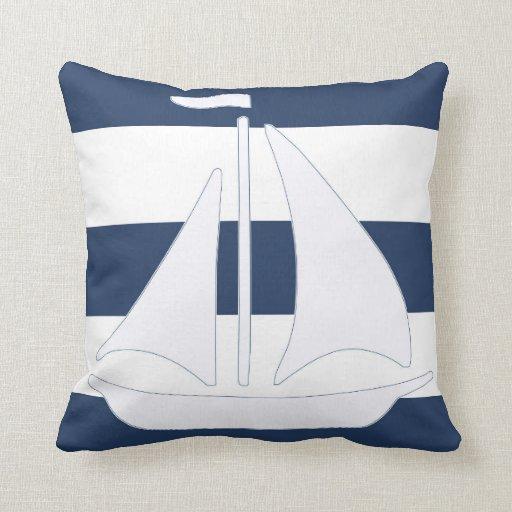 Nautical Sailboat Blue Stripe Throw Pillow Zazzle