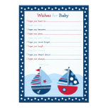 "Nautical Sailboat Boat Wishes for Baby Card 5"" X 7"" Invitation Card"